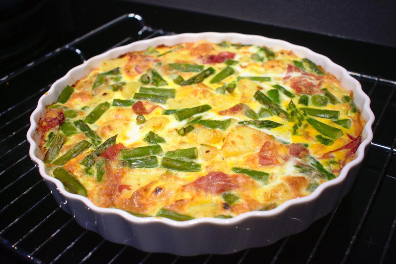 Frittata met groene asperges en aardappel