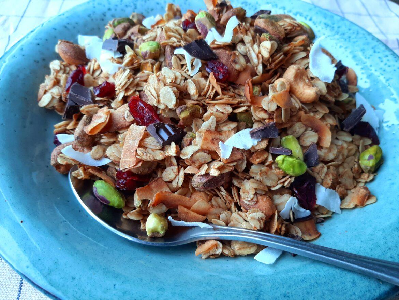 Pistache granola met cranberry